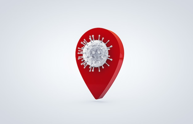 Coronavirus con icona mappa pin posizione. la lotta contro il coronavirus. nessuna infezione e arresto dei concetti di coronavirus. icona 3d isolata su fondo bianco.