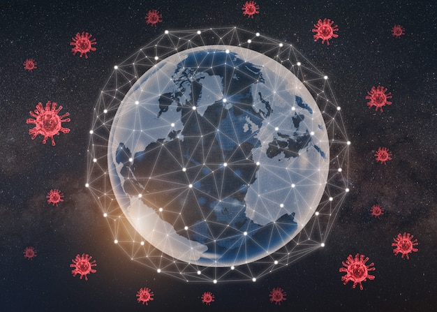 Coronavirus o covid 19 sullo sfondo della terra e la linea di connessione proteggono il concetto. lotta mondiale o terrestre contro il virus corona