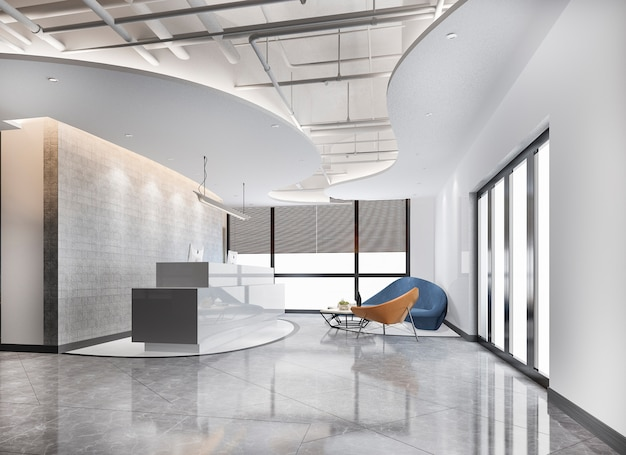 Corridoio ed ufficio della reception dell'albergo di lusso della rappresentazione 3d con il contatore moderno