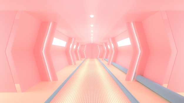 Corridoio fantascientifico di astronave rosa.