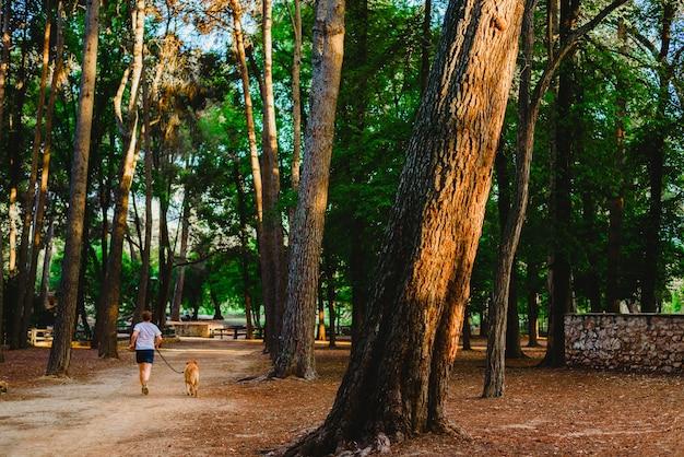 Corridore con il suo cane che cammina attraverso la foresta