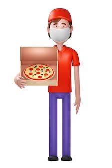 Corriere consegna pizza con scatola porta maschera con pizza