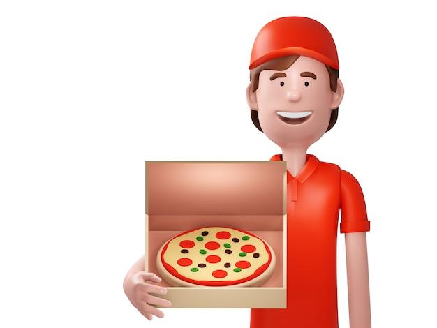 Corriere di consegna della pizza in uniforme rossa che tiene scatola con pizza