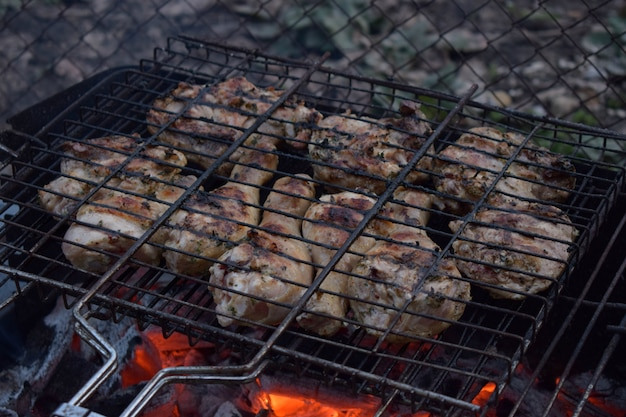 Cosce di pollo al barbecue, grigliate di carne al sacco.