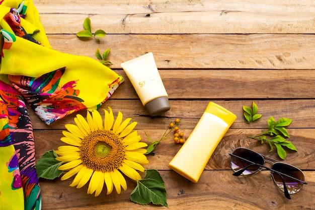 Cosmetici di bellezza assistenza sanitaria per la pelle in estate