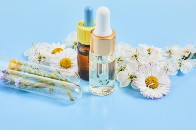 Cosmetici naturali con ingredienti a base di erbe. siero per la cura della pelle e del corpo con fiori e piante in provetta. medicina di erbe di concetto