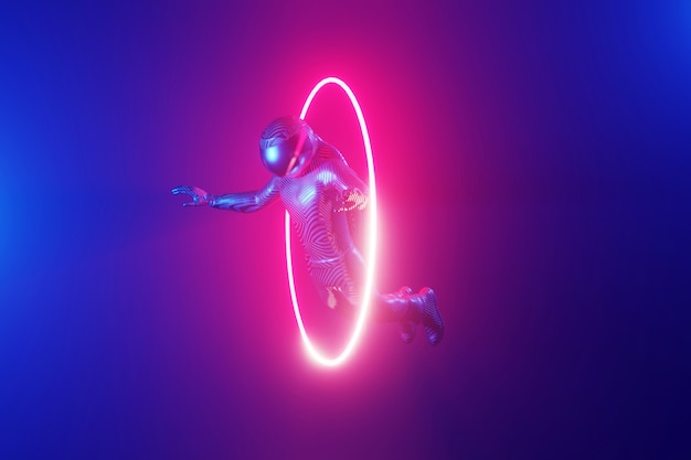 Cosmonauta che vola attraverso un anello al neon luminoso, portale. rendering 3d