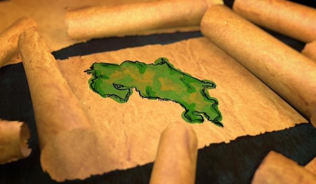 Costa rica mappa pittura unfolding old paper scorrimento 3d