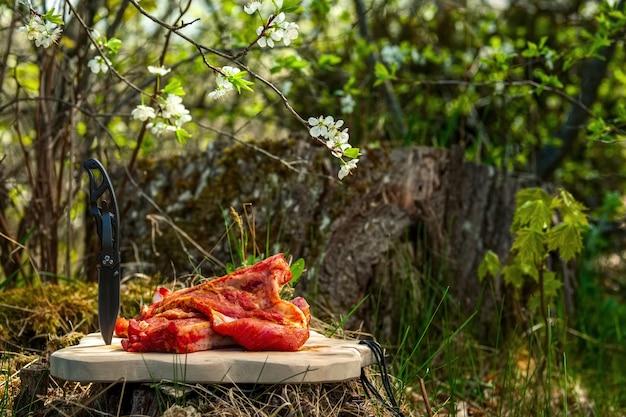 Costole di carne di maiale fresche con sale e pepe sul tagliere all'aperto. foto di messa a fuoco selettiva.