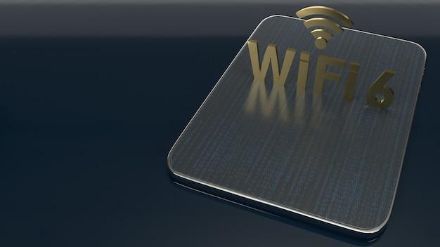 Costruzione della rappresentazione 3d sulla compressa per il wifi 6