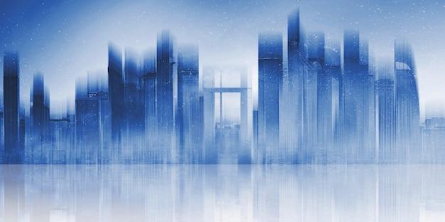 Costruzione moderna futuristica nella città con la riflessione sul pavimento di calcestruzzo.