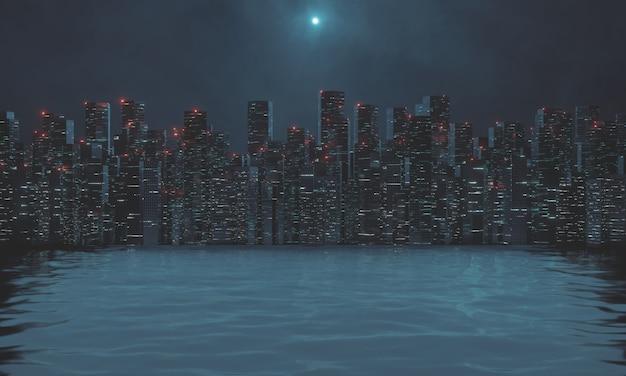 Costruzioni moderne del grattacielo alla notte con il fiume di riflessione della luce