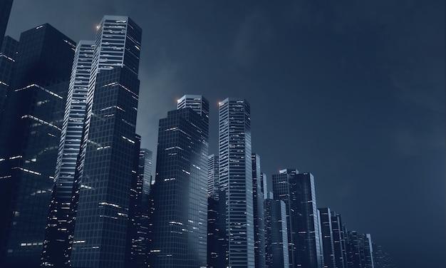Costruzioni moderne del grattacielo alla notte
