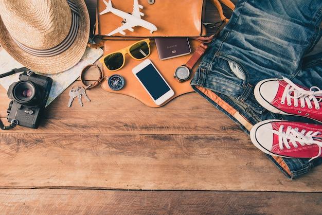 Costumi accessori da viaggio. passaporti, bagagli