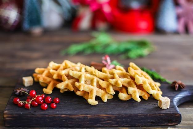 Cottura belga del dessert del nuovo anno di natale delle cialde