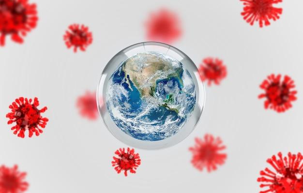 Covid-19, illustrazione medica di infezione da malattia di corona. concetto terra di una lotta contro ricerche di cura e diffusione della malattia del virus. rendering 3d.