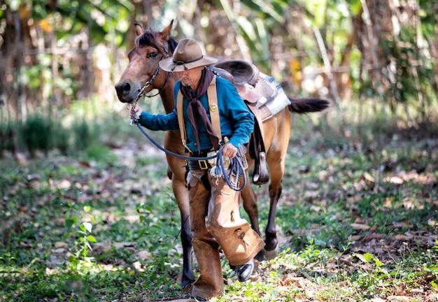 Cowboy e cavallo nei terreni agricoli
