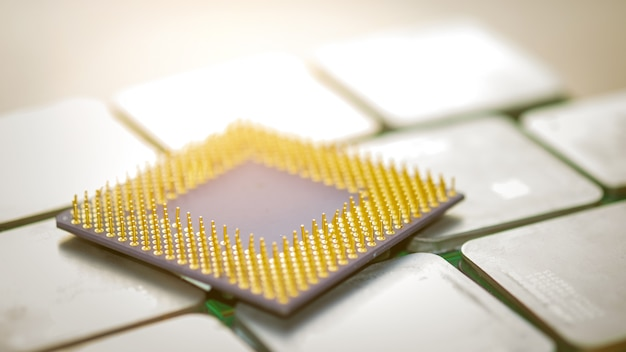 Cpu per computer gold. concetti di tecnologia moderna.
