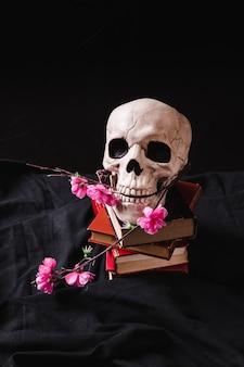 Cranio con fiori di plastica su pila di tomi