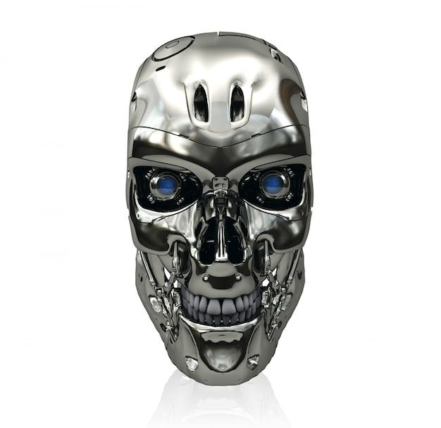 Cranio del robot con superficie metallica e gli occhi d'ardore blu, rappresentazione 3d