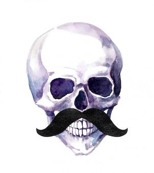 Cranio umano con i baffi. acquerello umorismo