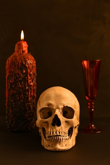 Cranio umano (replica) sullo sfondo di una candela accesa