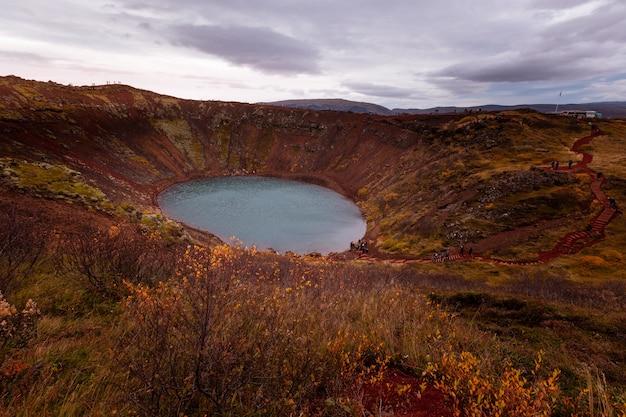 Cratere di kerið nel sud dell'islanda.