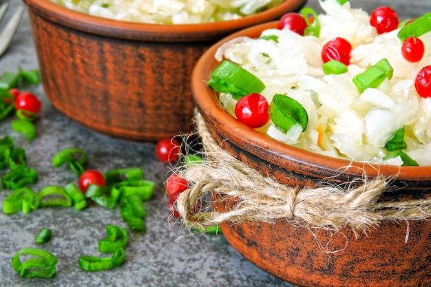 Crauti. prodotti fermentati per la salute. crauti con mirtilli rossi e cipollotti. probiotici.