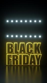 Cravatta lunga venerdì nera bandiera gialla e nera con luci al neon. modello della pubblicità dell'illustrazione della rappresentazione 3d.