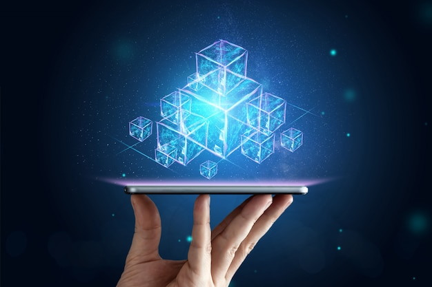 Creativo, astratto, tecnologia blockchain, sfondo ultravioletto