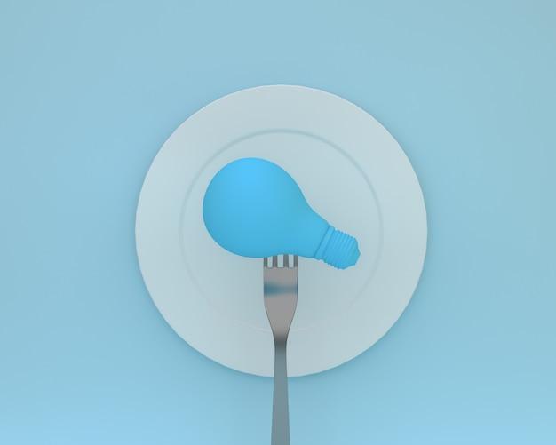 Creativo di forcelle con lampadine incandescenti messo sul piatto bianco. assistenza sanitaria minima conc