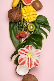 Creativo piatto con frutti e piante tropicali
