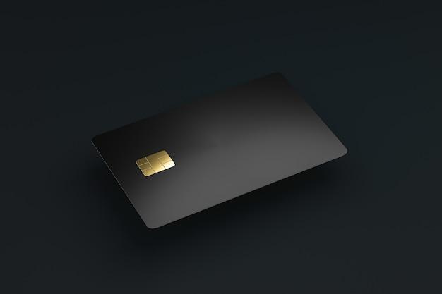 Credito in bianco o smart card con il chip del emv sul concetto scuro di affari di commercio elettronico del walland. modello di biglietti da visita. rendering 3d.