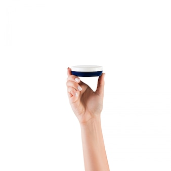Crema per lozione tenuta mano femminile