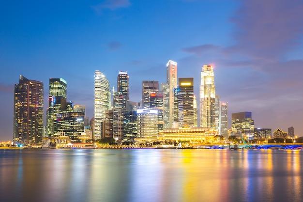 Crepuscolo della città di singapore