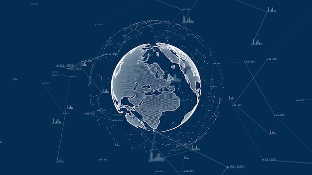Crescente concetto di rete e connessioni dati globali.
