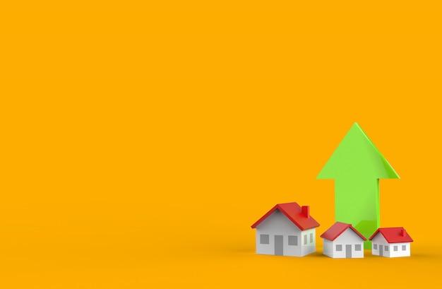 Crescita del settore immobiliare con la freccia verde. illustrazione 3d.