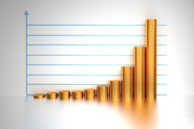 Crescita esponenziale con monete d'oro