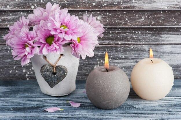 Crisantemo rosa in vaso concreto con le candele