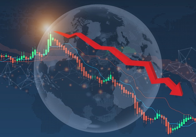 Crisi finanziaria dei mercati azionari dell'economia globale del concetto di impatto del coronavirus