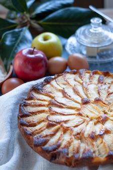 Crostata di mele rustica ingredienti, mele, farina, burro, zucchero. look vintage. dessert di mele. crostata di mele del primo piano.