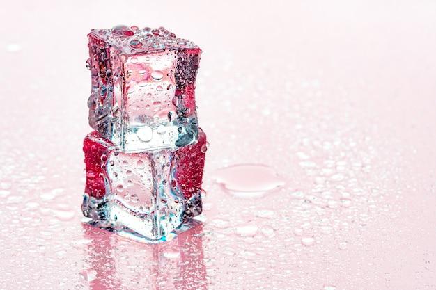 Cubetti di ghiaccio su sfondo rosa