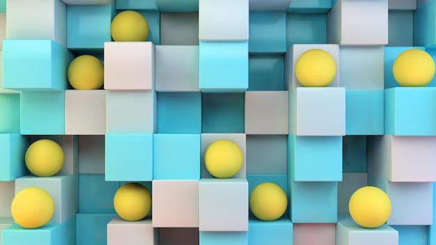 Cubi blu e sfere gialle