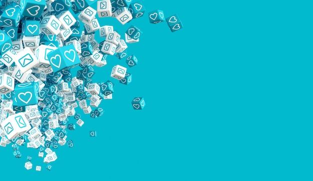 Cubi di caduta blu e bianchi con le icone che simulano le icone della rete sociale