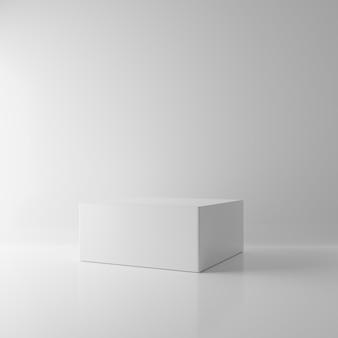 Cubo bianco del blocchetto di rettangolo nel fondo vuoto della stanza. concetto interno astratto del modello di architettura. tema minimalismo. piattaforma podio studio. fase di presentazione della fiera. illustrazione 3d