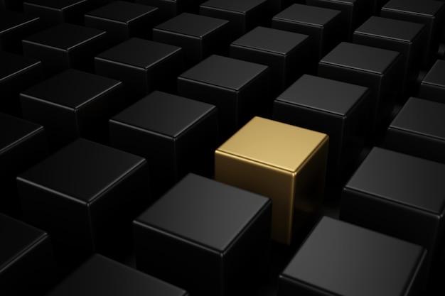 Cubo d'oro in mezzo a cubi neri con i diversi concetti. rendering 3d.