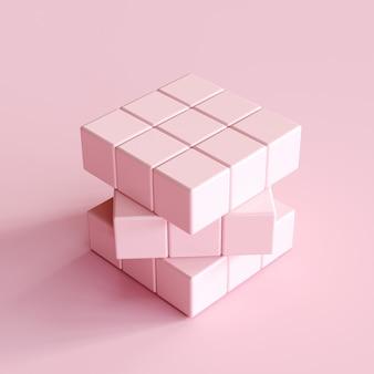 Cubo di rubik rosa chiaro su sfondo rosa chiaro. idea di concetto minima