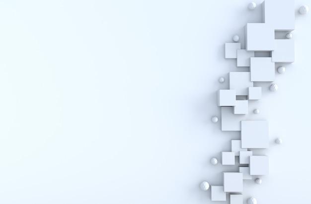 Cubo geometrico bianco, forme poligono, copia spazio sfondo. rendering 3d realistici.