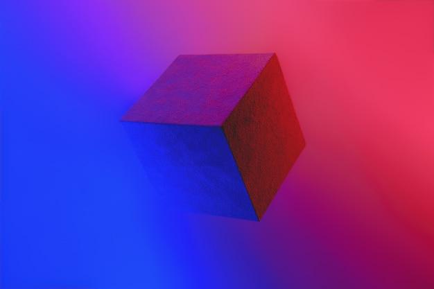 Cubo geometrico in vivaci colori al neon.