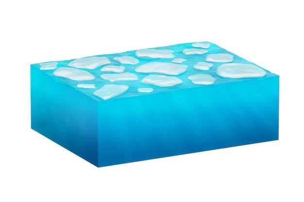 Cubo isolato di acqua ghiacciata